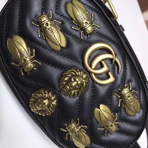 GUCCI Animal Studs GG Marmont Fanny pack 85 Black